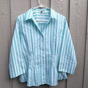 Foxcroft stripe pleated button shirt Size 16